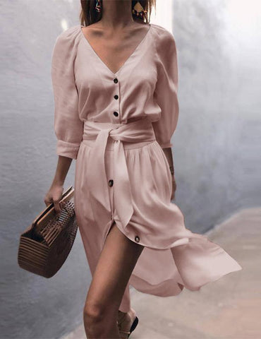 women casual v neck button midi dress
