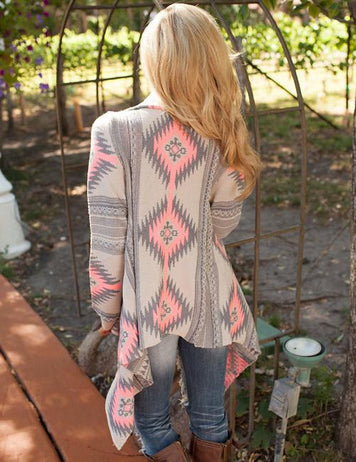 Autumn Casual Long Sleeve Irregular Hem Printed Knit Cardigan