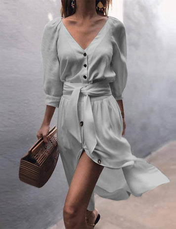 women v neck button twist waist midi dress
