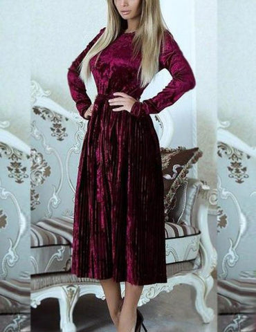 Autumn New Long Sleeve Belted Solid Velvet Pleated Midi Dress