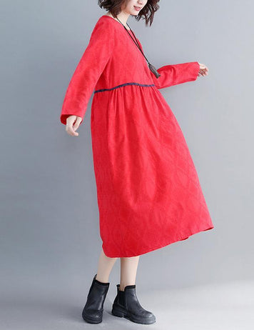 Autumn New Red Large Size Round Neck Long Sleeve Loose Cotton Midi Dress