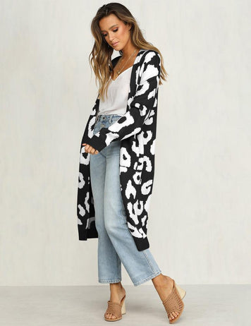 Long Sleeve Pockets Printed Knit Sweater Cardigan
