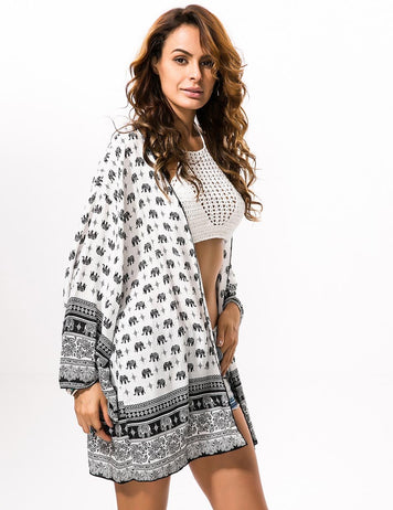 Summer Beach Cover Long Sleeve Elephant Printed Cardigan
