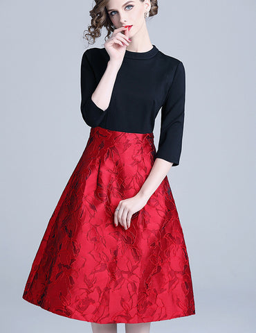 Black-Red Jacquard Stitching Slim A-Line Seven-Tenths Sleeves Midi Dress