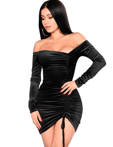 Black Pleuche Drawstring Pleated Slash Neck Mini Bodycon Dress