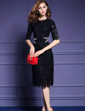 Black Dragonfly Decoration Lace Midi Dress