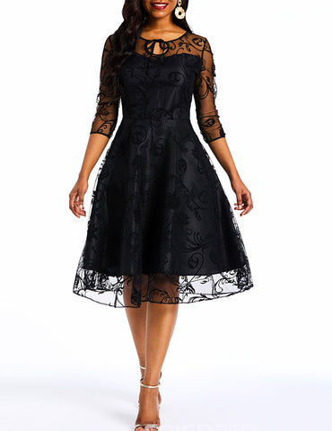 Black Lace Mesh Three-Quarter Sleeve Knee-Length Patchwork Pleated A-Line Vintage Dress
