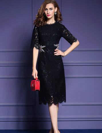 Lace Sheath Party Beaded Buttoned Cocktail Midi Dress
