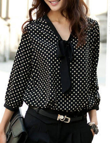 Black Polka Dot Long Sleeves Loose Chiffon Blouse