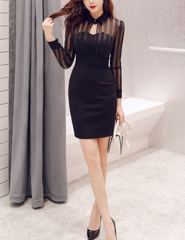 Black See Through Mesh Splicing Keyhole Front Bodycon Dress
