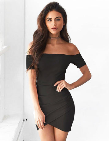 women black solid ruffle bodycon mini dress