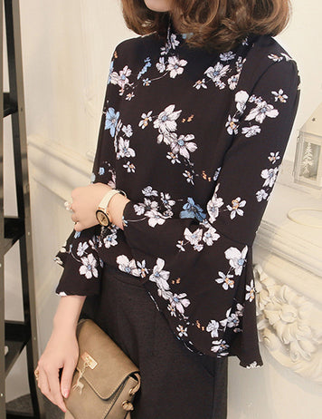 Black Stand Collar Seven-Tenths Flare Sleeves Floral Printed Chiffon Blouse