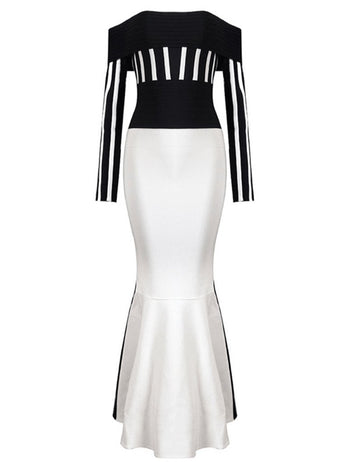 Black and White Stripe Bodycon Maxi Dress