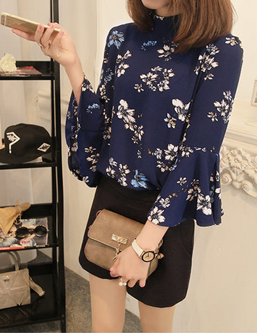 Blue Stand Collar Seven-Tenths Flare Sleeves Floral Printed Chiffon Blouse