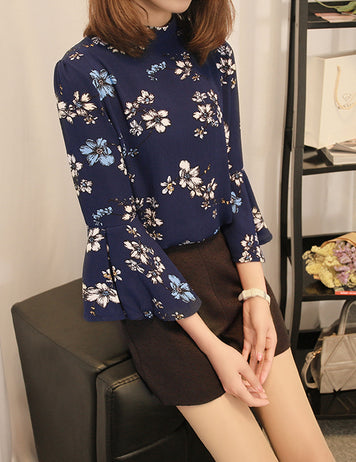 Blue Women Floral Print Blouse