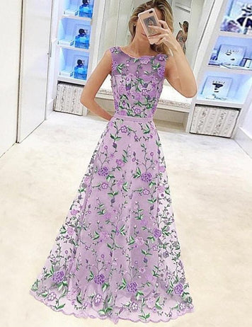 Boat Neck Floral Embroidery Maxi Dress