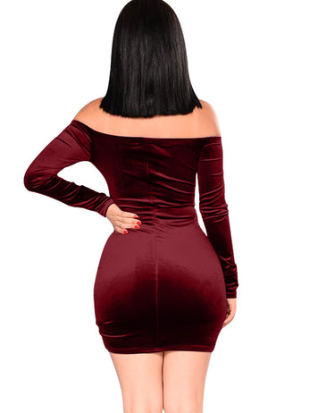 Burgundy Drawstring Pleated One-neck Dress