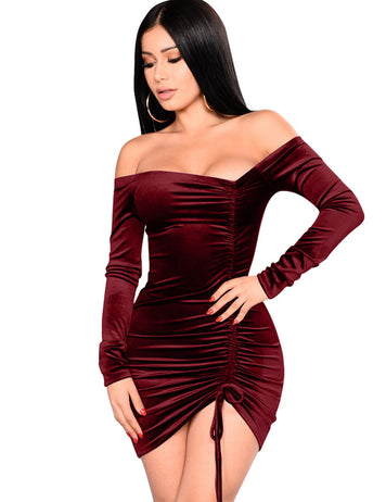 Burgundy Pleuche Drawstring Pleated Slash Neck Mini Bodycon Dress