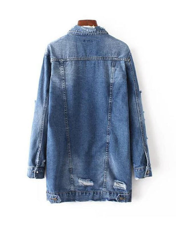 Ladies Long Sleeve Buttons Cool Denim Jacket