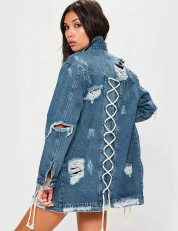 New Long Sleeved Hip Hop Women's Denim Jacket with Rope Decoration