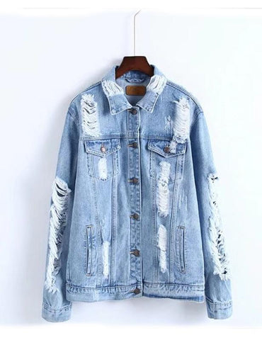 Casual Hole Torn Long Sleeve Ladies Denim Jacket
