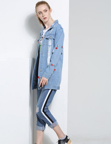 Long Sleeve Cherry Embroidery Baseball Uniform Women's Denim Jacket