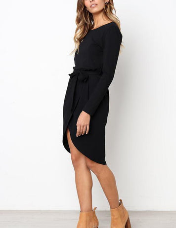 Casual A-Line Round Neck Irregular Long Sleeve Dress