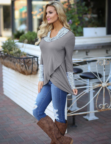 women casual wrap hem tops