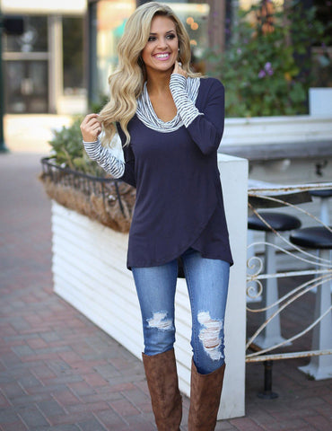 navy blue turtleneck  long sleeve tops