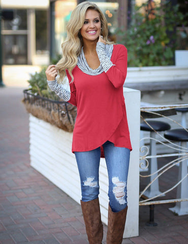 Fuchsia striped casual t-shirt