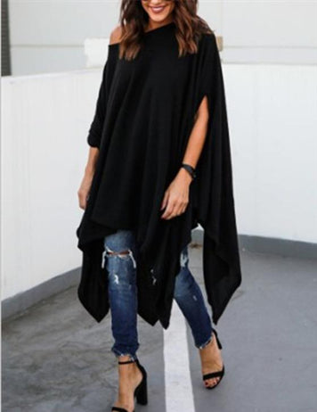 one shoulder cape sleeve blouse