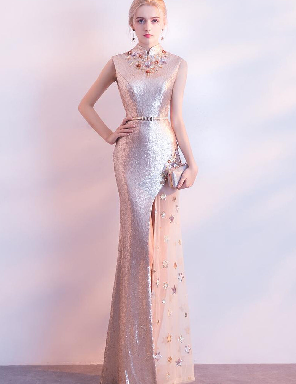 3c1cdbab19c6 Champagne Lace Sequined Stand Collar Long Slim Mermaid Split Dress –  Ladywearing.com