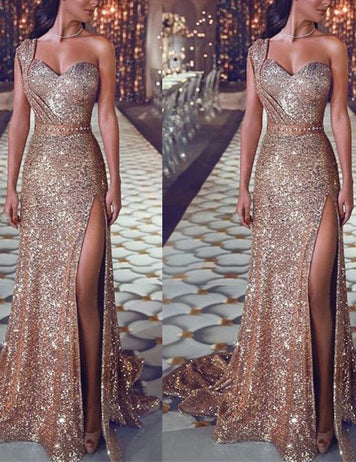 Cheap Gold Sequined One-shoulder Sleeveless Party Dress