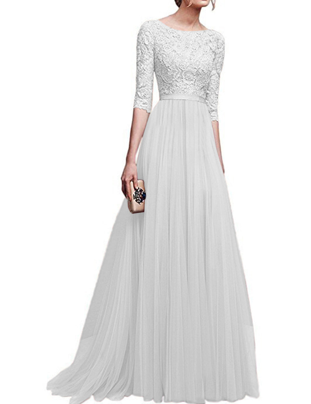 Cheap White Chiffon Lace Splice Half Sleeves Floor Length Maxi Dress Sale
