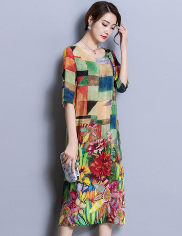 Chinese Multicolor Plaid Floral Print Long Sleeve Midi Dress