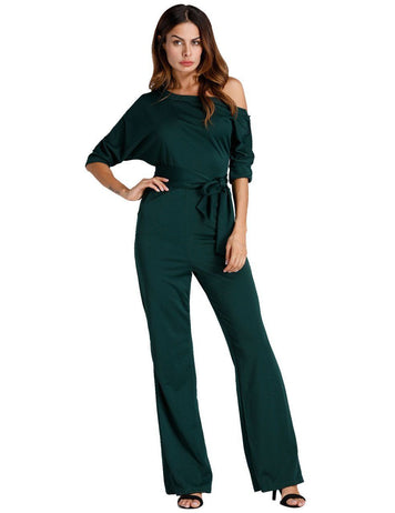 Classic Black Oblique One Shoulder Button Wide-Leg Jumpsuit