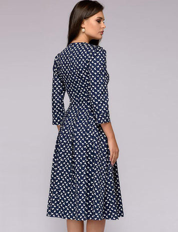 Crew Neck Women Dresses A-Line Party Printed Dress