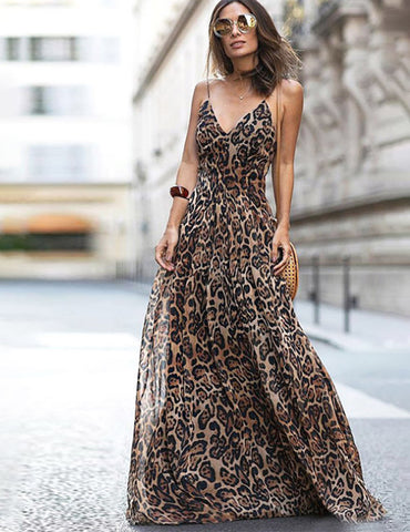 Women's Spaghetti Strap Leopard Print Deep V Neck Coffee Long Dress