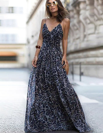 Buy Sexy Blue Sleeveless Leopard Print Maxi Dress