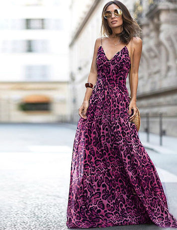 Cheap Boho Leopard V-Neck Spaghetti Strap Fuchsia Maxi Dress Sale