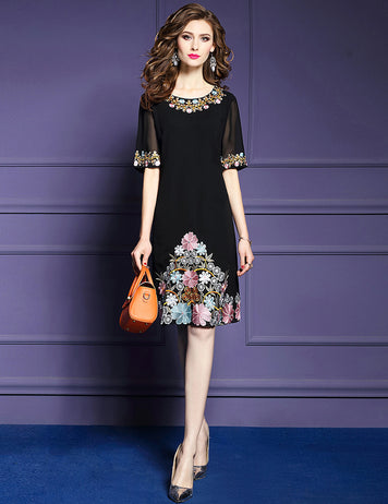 Short Sleeve Floral Embroidery Midi Dress
