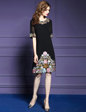 Black Casual Short Sleeve Embroidered Floral Party Midi Dress