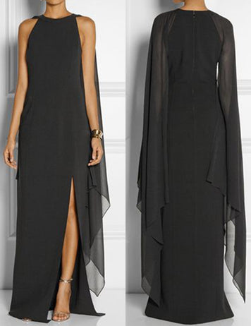 Black Plus Size Chiffon Panelled Split Cape Sleeves Maxi Dress