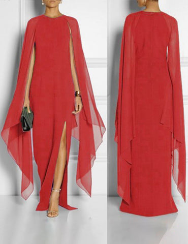 Red Plus Size Chiffon Panelled Split Cape Sleeves Maxi Dress