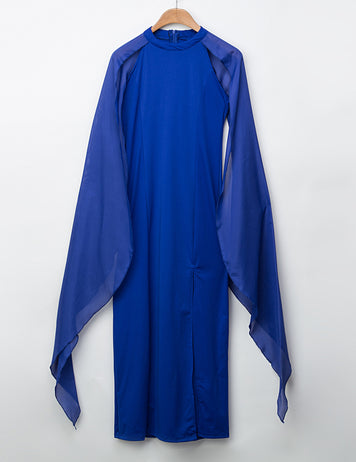 Buy Split Cape Sleeves Blue Maxi Dress