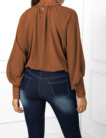 Dark Brown Lantern Sleeve Wide Cuff Ruched Blouse