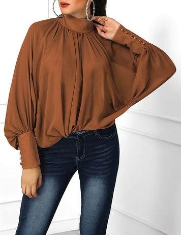 Dark Brown Pleated Stand Collar Bat Sleeve Loose Chiffon Blouse