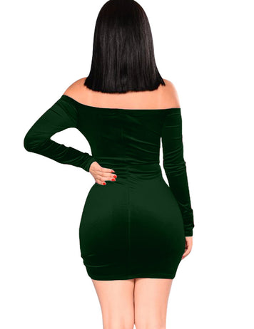 Dark Green Drawstring Pleated One-neck Dress