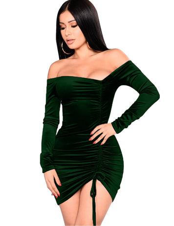 Dark Green Pleuche Drawstring Pleated Slash Neck Mini Bodycon Dress