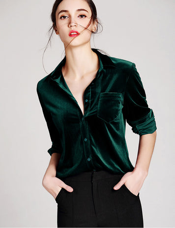 Dark Green Velvet Shirt Buttoned Pockets Work Blouse
